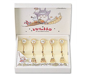 Ghibli - Totoro - 5 Cake Fork Set - Gold Plating  with Lead-free Enamel - 5 Picture - Noritake (new)