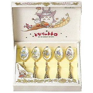 1 left -5 Teaspoon Set - Gold Plating with Lead-free Enamel - 5 Pictures - Noritake (new)