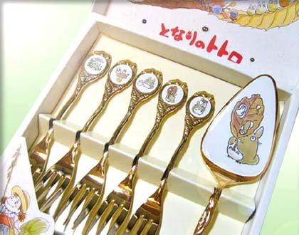 SOLD-5 Cake Fork & Cake Server Set- Gold Plating - Noritake - Totoro -no production(new)