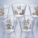 5 Dessert Cup Set - Glass - Noritake - Totoro - Ghibli (new)