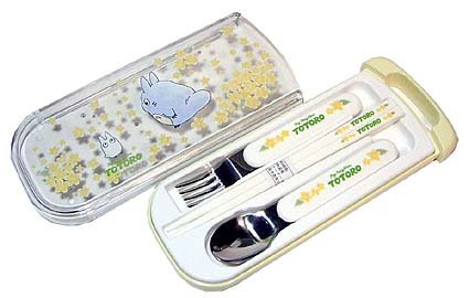Ghibli - Chu & Sho Totoro - Fork & Spoon & Chopsticks in Case Set-yamabuki-outproduction-SOLD(new)