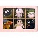 6 Mascot Chain Strap - Totoro & Kurosuke & Jiji & Kodama & Yakkuru & Porco - Sun Arrow (new)