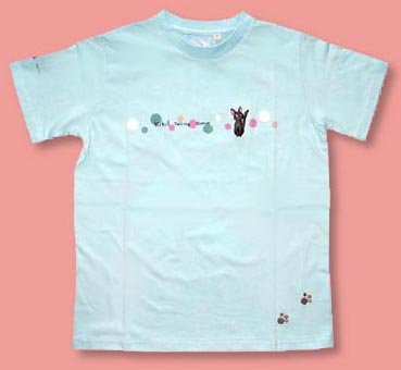 Ghibli - Kiki's - Jiji - T-shirt (L) - Jiji & Footprints Embroidered - blue (new)