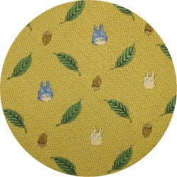 Ghibli - Chu & Sho Totoro - Necktie - Silk - Jacquard Weaving - leaf - yellow - 2006 (new)