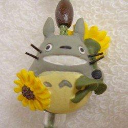 Ghibli - Totoro & Chu & Sho Totoro & Kurosuke - Hook & Strap - Crystal - sunflower - 2006 (new)