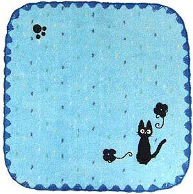 Ghibli - Kiki's Delivery Service - Jiji - Mini Towel - Jiji Embroidered - edging - blue - 2006 (new)