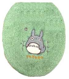 Toilet Lid Cover - Totoro Applique - Kurosuke Embroidered - regular - green - Ghibli (new)