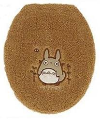 Ghibli - Totoro - Toilet Lid Cover - Totoro Applique - Embroidered - regular - orange - SOLD (new)