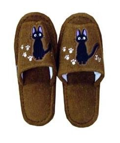 Ghibli - Kiki's - Slipper  - Jiji Embroidered - brown (new)