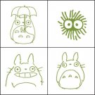 4 Stamps & Color Pad (olive green) Set - Totoro & Kurosuke - Ghibli (new)