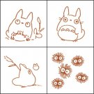 4 Stamps & Color Pad (autumn leaf) Set - Totoro & Chu & Sho Totoro & Kurosuke - Ghibli (new)