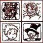 SOLD- 4 Stamp & Brown Ink Pad - Old Sophie Markl Kabu - Howl's Moving Castle - no production (new)