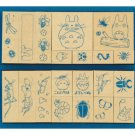 20 Stamps Set - bug - Wooden Tray - made in Japan - Totoro & Chu & Sho Totoro & Kurosuke (new)