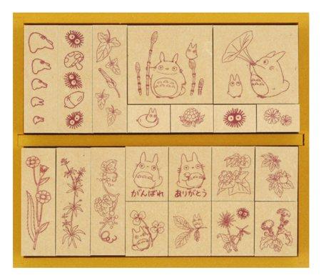 20 Stamps Set #1-flower & plant & acorn-Wooden Tray- madeinJapan- Totoro & Chu & Sho & Kurosuke(new)
