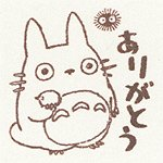 Ghibli - Totoro & Makkuro Kurosuke - Pre-inked / Self-inking Stamp - brown - Thank You -SOLD(new)