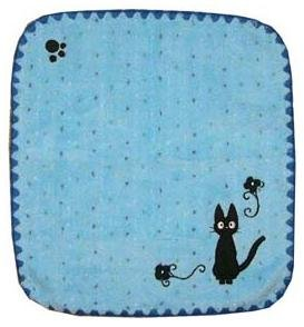 Ghibli - Kiki's Delivery Service - Jiji - Hand Towel - Jiji Embroidered - edging - blue - 2006 (new)