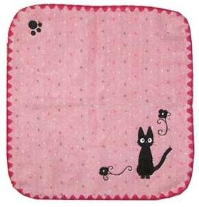 Ghibli - Kiki's Delivery Service - Jiji - Hand Towel - Jiji Embroidered - edging - pink - 2006 (new)