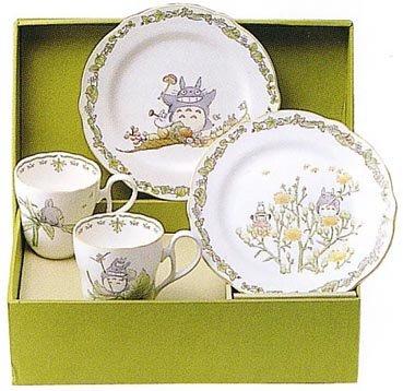 4 Piece Set -2 Cup & 2 Plate (M) - Bone China - Noritake - Totoro (new)