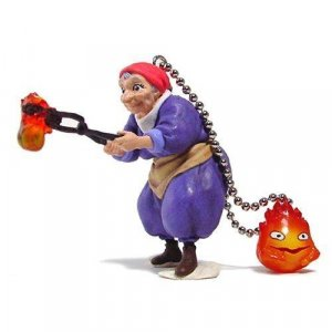 Keychain - Old Sophie & Calcifer - cominica - Howl's Moving Castle - out of production (new)