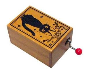 Ghibli - Kiki's Delivery Service - Jiji - Music Box / Orgel - Wooden Box (new)