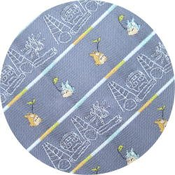 Ghibli - Totoro & Nekobus - Necktie - Silk - Jacquard Weaving - scribble - blue -2007-2 left(new)