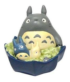 Ghibli - Totoro & Chu & Sho Totoro on Umbrella - Moneybox - Ceramics - blue - 2007 - SOLD OUT (new)