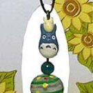 Mini Wind Chime - Strap - Natural Green Agate - Bell - Chu & Sho Totoro - Ghibli - 2007 (new)