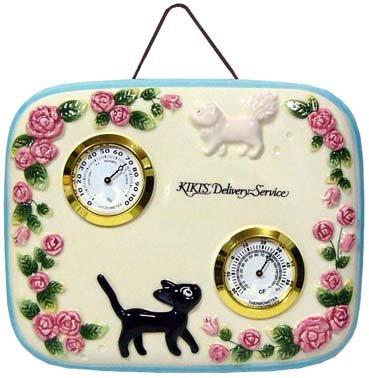 Ghibli - Kiki's Delivery Service - Jiji & Lily - Wall Thermometer & Hygrometer -Ceramics-2007(new)