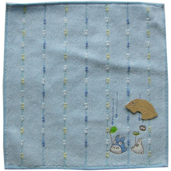 Ghibli - Chu & Sho Totoro & Kurosuke - Mini Towel - Embroidered - rain - blue - 2007 - SOLD (new)