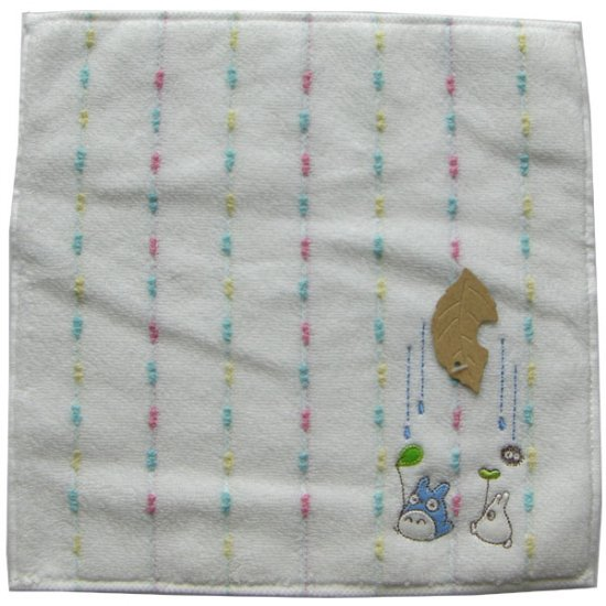 Ghibli - Chu & Sho Totoro & Kurosuke - Mini Towel - Embroidered - rain - white - 2007 - SOLD (new)