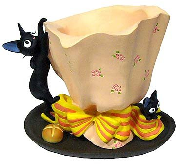 Ghibli - Kiki's Delivery Service - Jiji & Kid & Bread - Planter Pot & Water Tray - 2007 (new)