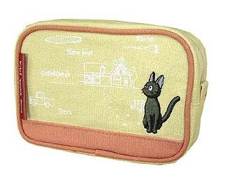 Ghibli - Kiki's Delivery Service - Pouch - Jiji Embroidered - sqare - pink -2007-RARE-SOLDt(new)