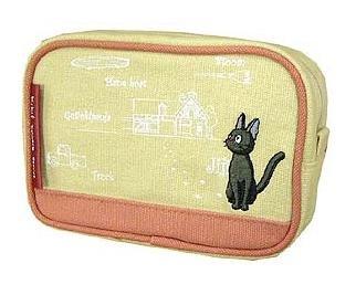 Ghibli - Kiki's Delivery Service - Pouch - Jiji Embroidered - sqare - pink -2007-RARE-SOLDt(new)