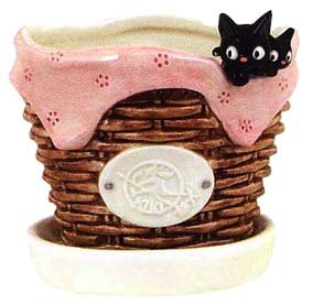 Ghibli - Kiki's Delivery Service - Jiji & Kid - Planter Pot & Water Tray - Ceramics - 2007 (new)