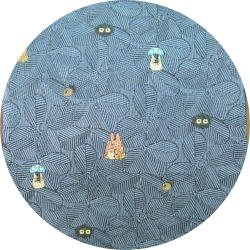 Ghibli - Totoro & Sho & Kurosuke - Necktie - Silk - Jacquard Weaving - leaf - blue - 2007-SOLD (new)