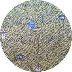 Ghibli - Totoro & Sho & Kurosuke - Necktie - Silk - Jacquard Weaving - leaf - yellow-2007-1left(new)