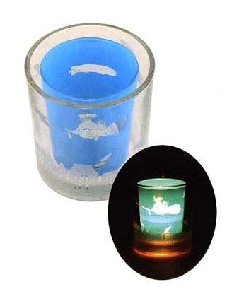 Ghibli - Kiki's Delivery Service - Kiki Jiji Aircraft-Tealight & Candle Holder -Duet Glass-2007(new)