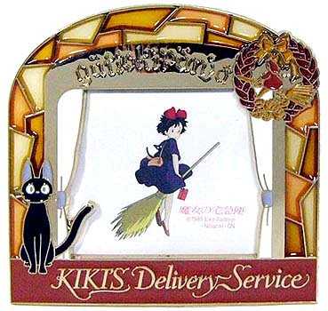 Ghibli - Kiki's Delivery Service - Kiki & Jiji - Stand Photo Frame - Stained Glass - 2007 (new)