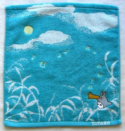 Ghibli - Totoro - Hand Towel - Embroidered - sky - light blue - 2007 (new)