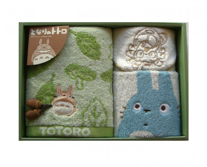 Towel Gift Set - Mini & Wash & Face Towel - Applique & Acorn Mascot - Totoro - 2007 (new)