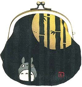 Ghibli - Totoro & Sho Totoro - Japanese Gamaguchi Purse - moon & bamboo - 2008 (new)