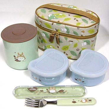 Lunch Bento Box Set- Thermal Jar & 2 Containers & Fork & Case -madeJapan- Totoro -noproduction(new)