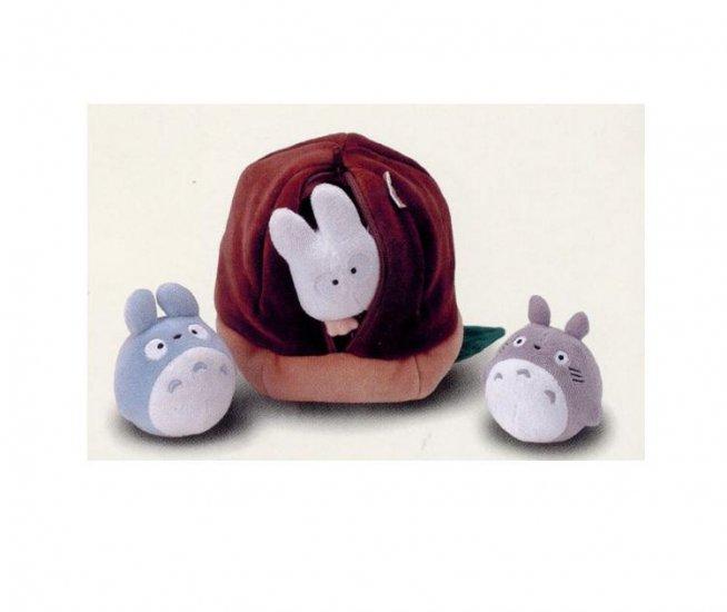 Ghibli - Totoro & Chu & Sho Totoro in Acorn - Plush Doll - Bell - Pile - RARE (new)