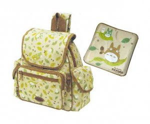 Backpack Bag & Mini Cushion - Chu & Sho Totoro & Kurosuke - Ghibli - 2008 (new)