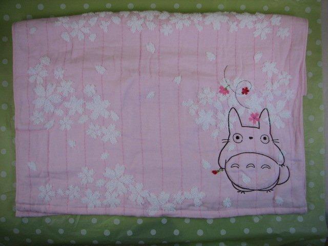 Ghibli - Totoro - Bath Towel - Totoro & Sakura Embroidered -NonTwistedThread-sakura-pink-2008(new)