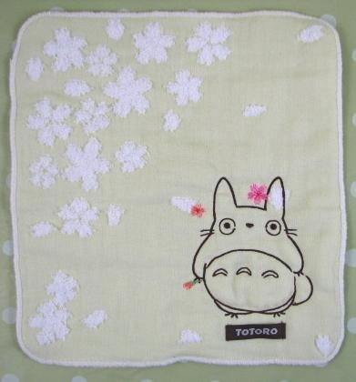 Ghibli - Totoro - Mini Towel - Totoro & Sakura Embroidered -NonTwistedThread-sakura-green-2008(new)