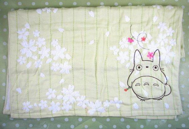 Ghibli - Totoro - Bath Towel - Totoro & Sakura Embroidered -NonTwistedThread-sakura-green-2008(new)