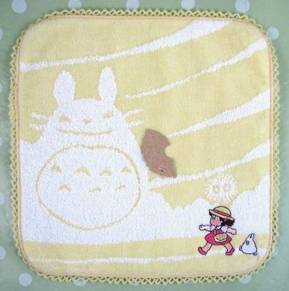 Ghibli - Totoro - Mini Towel - Sho Totoro Applique & Mei Embroidered - cloud - yellow - 2008 (new)