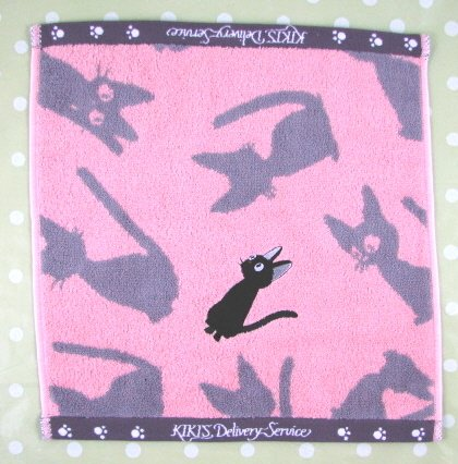 Ghibli - Kiki's Delivery Service - Hand Towel - Jiji Applique - pink - out of production-RARE(new)