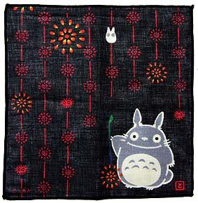 SOLD - Handkerchief - 21.5x21.5cm - fireworks - Totoro & Sho & Kurosuke - Ghibli - 2008 (new)